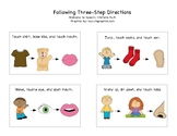 Following Three Step Directions Commands with Visuals, Distance Learning