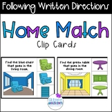 Following Written Directions Clip Cards - Home Edition