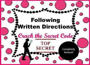 Following Written Directions Crack the Secret Code