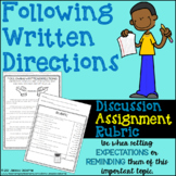 Following Written Directions: Discussion, Assignment, Rubric