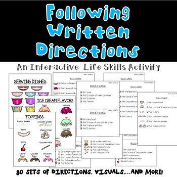 Following Written Directions/ Reading Comprehension- BUILD A SUNDAE