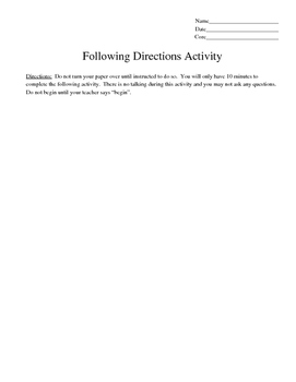 Following Written and Oral Directions