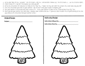 Following and Writing Directions Christmas/Winter Activities