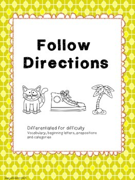 Following direction for speech, special education or early elementary