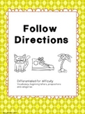 Following direction for speech, special education or early