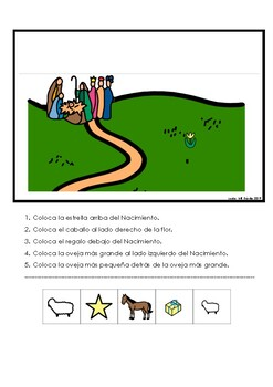 Following directions Christmas Spanish Prepositions  - Seguir mandatos español