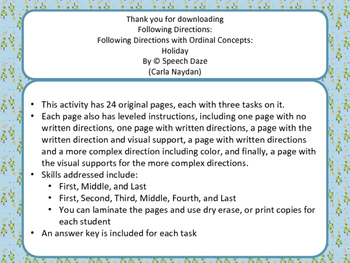 Following directions with Ordinal Concepts-Holiday