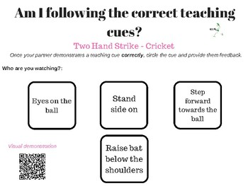 Following the teaching cues - Self Assessment