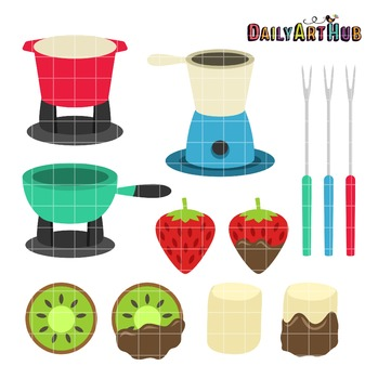 Fondue Party Clip Art - Great for Art Class Projects!