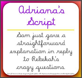 Font: Adriana's Script - cursive script font (True Type Font)
