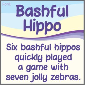 Font: Bashful Hippo (True Type Font)