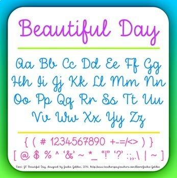 Font: Beautiful Day - cursive script font (True Type Font)