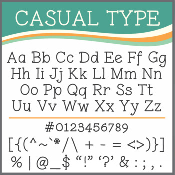 Font: Casual Type (True Type Font)