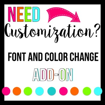 Font, Color, or Wording CUSTOM REQUEST for a product from my shop