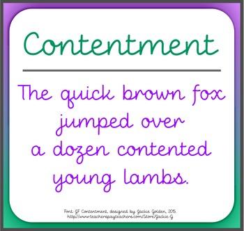 Font: Contentment (True Type Font)