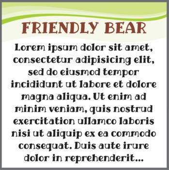 Font: Friendly Bear (True Type Font)