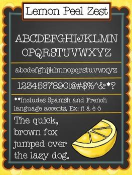 Font: Lemon Peel Zest {True Type font for commercial and p