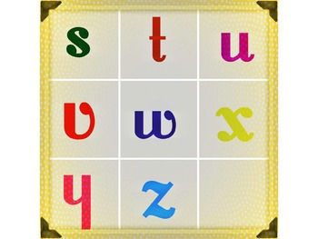 Font Matching Work - 3x3 grid with Board and Cards - 9 Cards Included