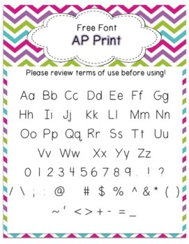 Font - Personal or Commercial Use:  AP Print {Free}