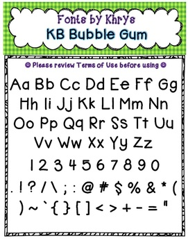 Font - Personal or Commercial Use: KB Bubble Gum