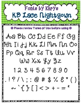 Font - Personal or Commercial Use: KB Lace Nightgown