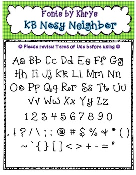 Font - Personal or Commercial Use: KB Nosy Neighbor