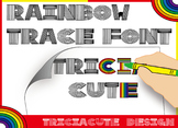 Font for COLORING - Rainbow Trace Font, alphabet letters and numbers tracing