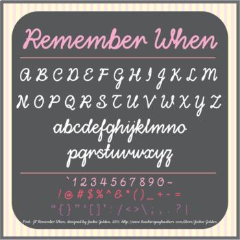 Font: Remember When - cursive script font (True Type Font)