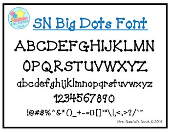 Font Commercial or Personal Use SN Big Dots