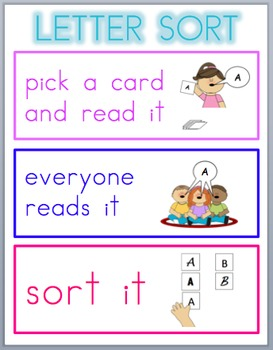 Font Sort Game Cards for Number, Letters, and High Frequency Words