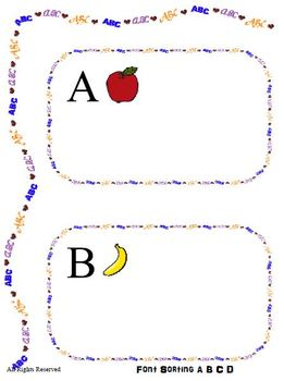 Font Sorting for Letters ABCD - File Folder Game Reading Center - Literacy PreK