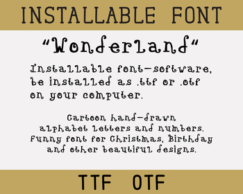 Font TTF OTF, Curly Design. Installable TrueType font file software for computer