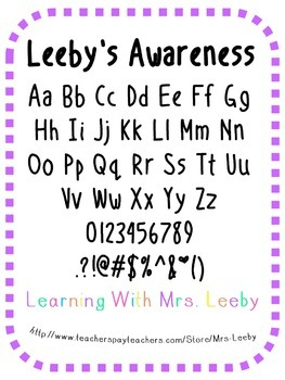 Font for personal and commercial use - Leeby's Awareness