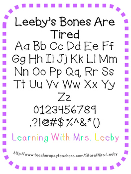 Font for personal and commercial use - Leeby's Bones Are Tired