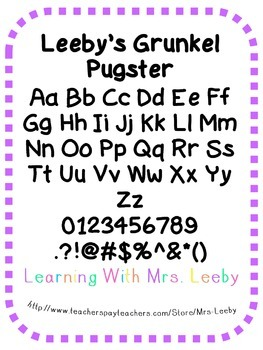 Font for personal and commercial use - Leeby's Grunkel Pugster