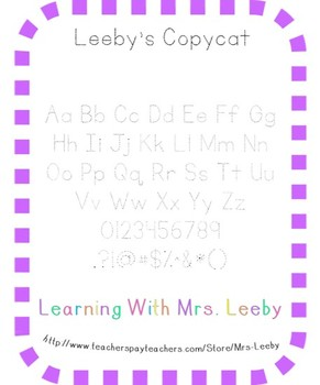 Font for personal and commercial use - Leeby's Copycat (tracer font)