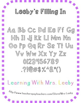 Font for personal and commercial use - Leeby's Filling In
