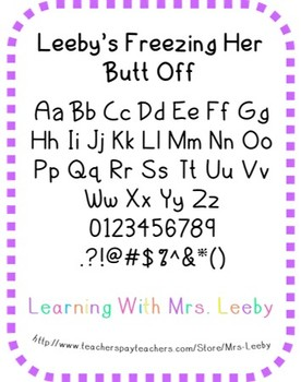 Font for personal and commercial use - Leeby's Freezing He