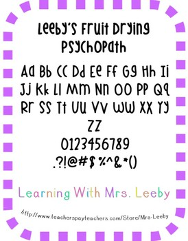 Font for personal and commercial use - Leeby's Fruit Dryin