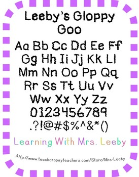 Font for personal and commercial use - Leeby's Gloppy Goo