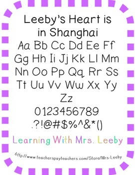 Font for personal and commercial use - Leeby's Heart is in Shanghai