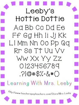 Font for personal and commercial use - Leeby's Hottie Dottie