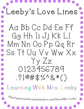 Font for personal and commercial use - Leeby's Love Lines