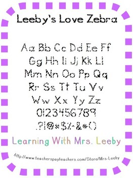Font for personal and commercial use - Leeby's Love Zebra