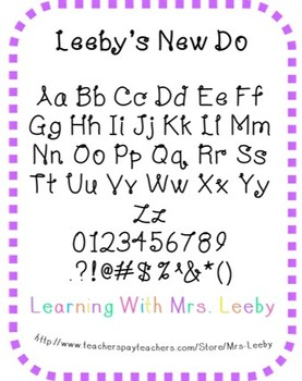 Font for personal and commercial use - Leeby's New Do