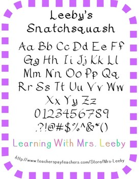 Font for personal and commercial use - Leeby's Snatchsquash