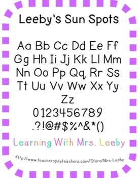 Font for personal and commercial use - Leeby's Sun Spots