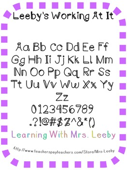 Font for personal and commercial use - Leeby's Working At It