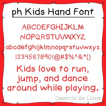 Font: ph Kids Hand (with commercial use license)