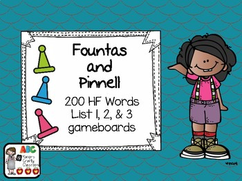 Fountas and Pinnell 200 High Frequency Word List 1, 2 & 3 Gameboards